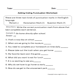 Punctuation Worksheets   Ending Punctuation Worksheets [ 869 x 910 Pixel ]