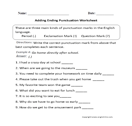 small resolution of Punctuation Worksheets   Ending Punctuation Worksheets