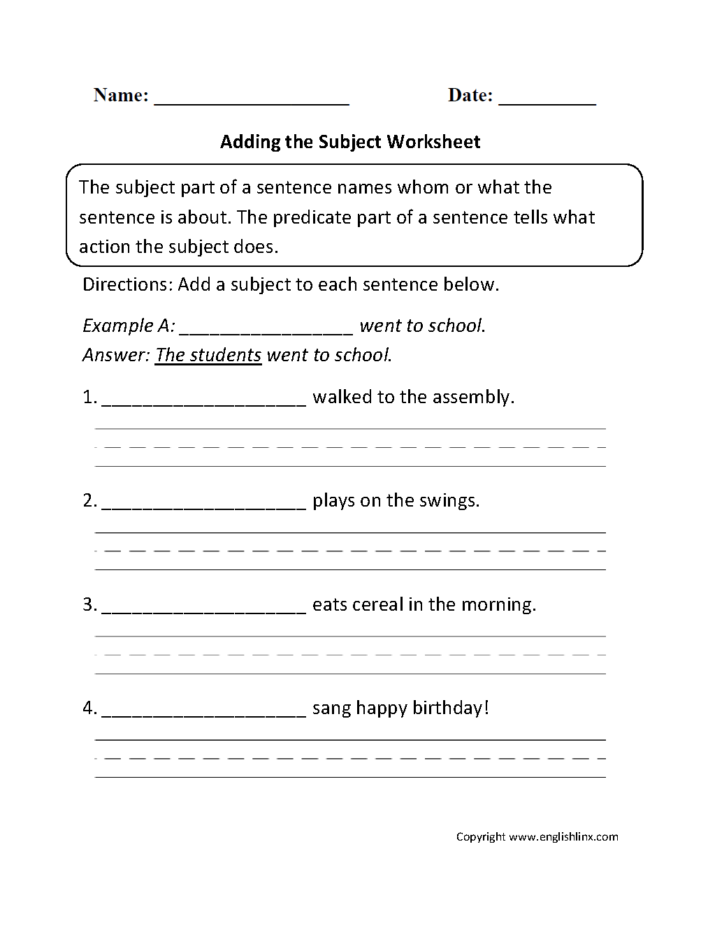 hight resolution of Englishlinx.com   Subject and Predicate Worksheets