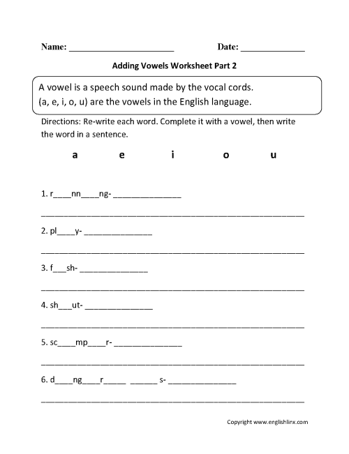 small resolution of Englishlinx.com   Vowels Worksheets