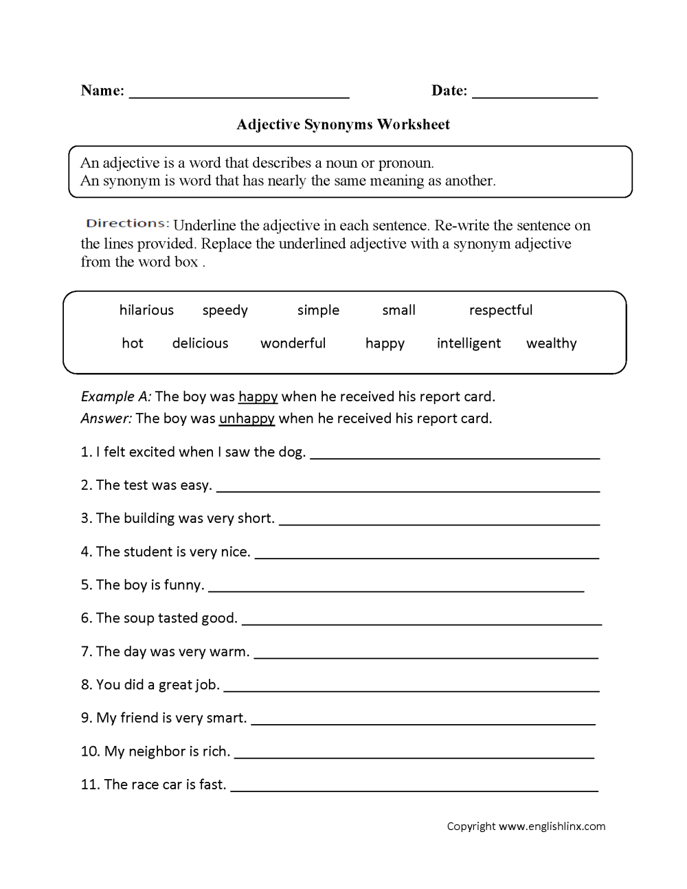 medium resolution of Parts Speech Worksheets   Adjective Worksheets