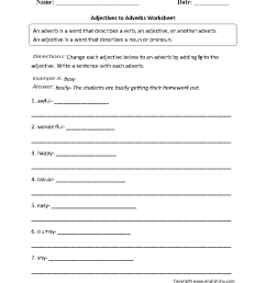 Parts Speech Worksheets   Adverb Worksheets [ 1199 x 910 Pixel ]