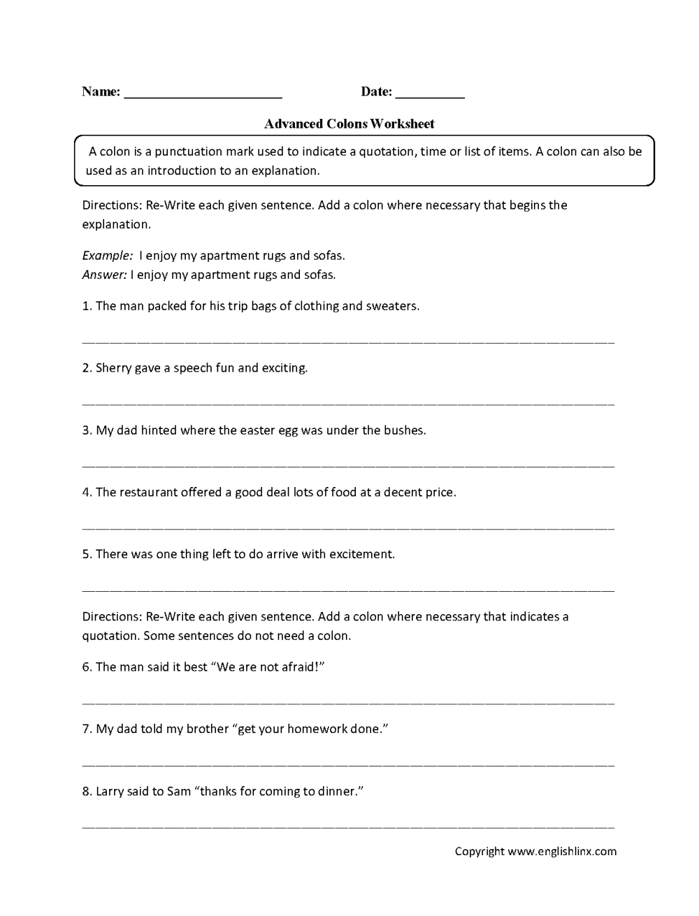 medium resolution of Punctuation Worksheets   Colon Worksheets
