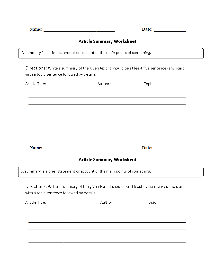hight resolution of Reading Worksheets   Summary Worksheets
