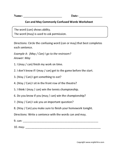 small resolution of Commonly Confused Words Worksheets   Can and May Commonly Confused Words  Worksheets