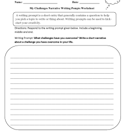 Writing Prompts Worksheets   Narrative Writing Prompts Worksheets [ 2200 x 1700 Pixel ]