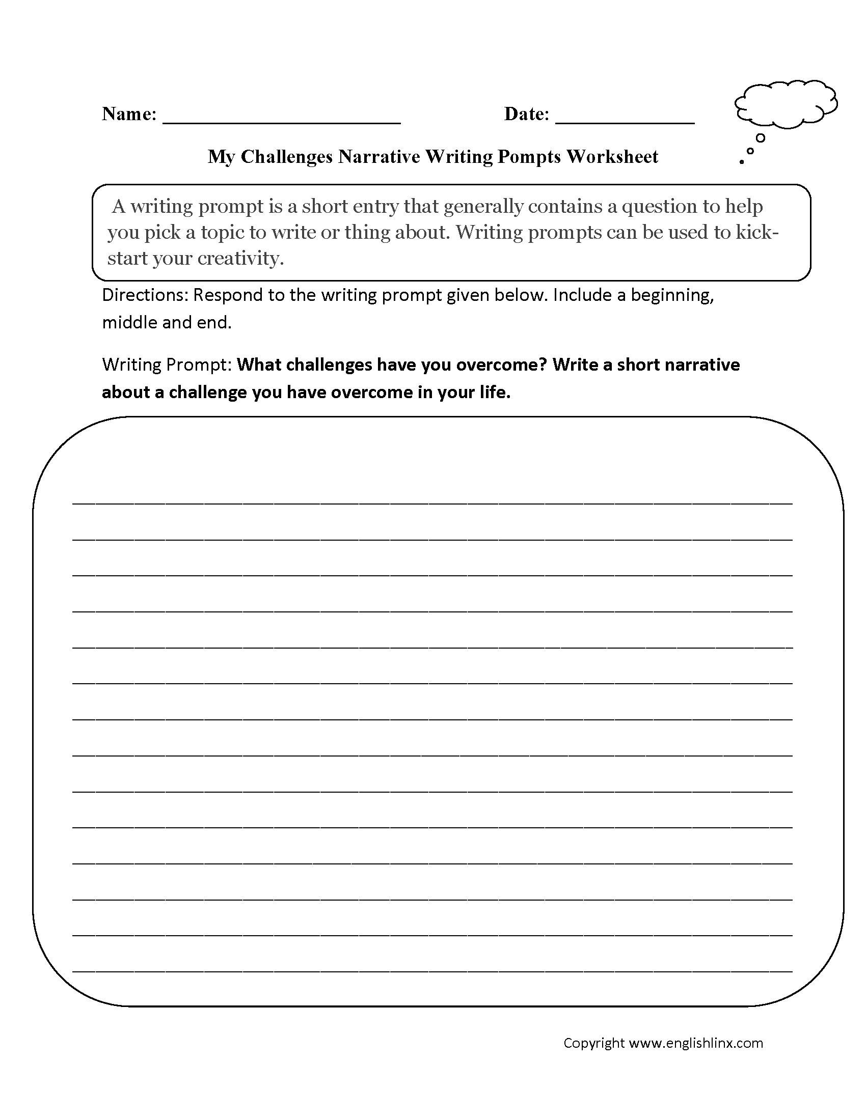 hight resolution of Writing Prompts Worksheets   Narrative Writing Prompts Worksheets
