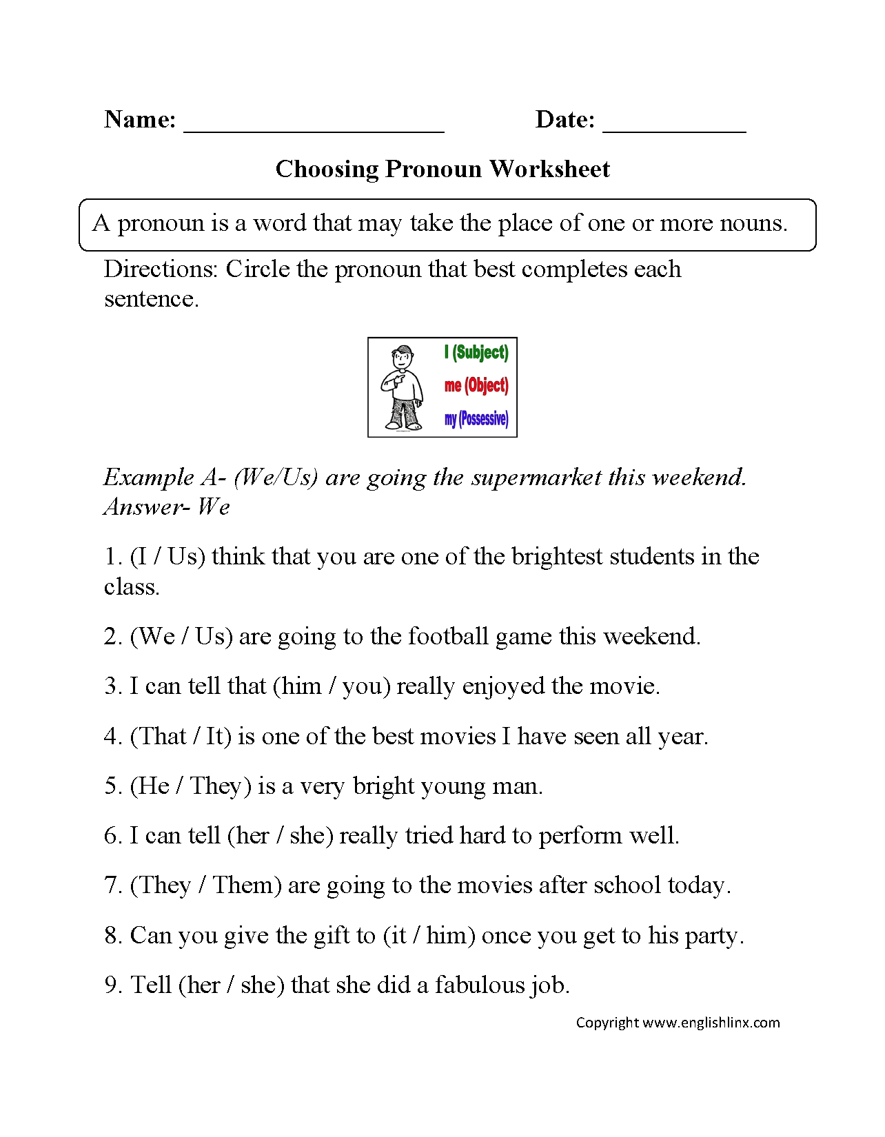hight resolution of Parts Speech Worksheets   Pronoun Worksheets