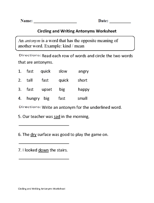 small resolution of Englishlinx.com   Antonyms Worksheets