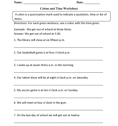Punctuation Worksheets   Colon Worksheets [ 2200 x 1700 Pixel ]
