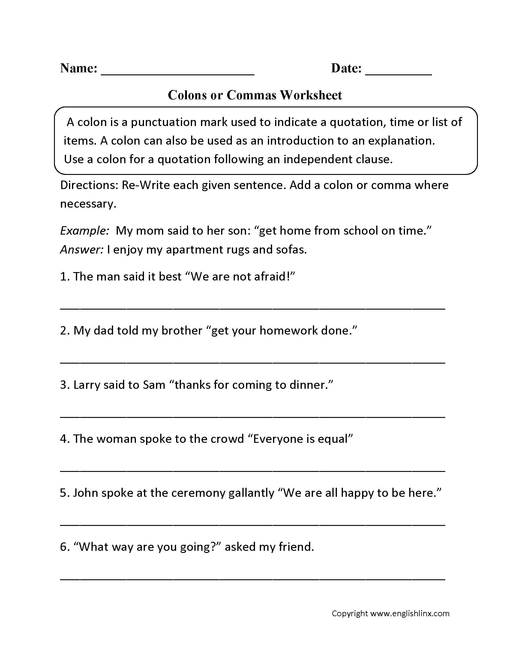 hight resolution of Punctuation Worksheets   Colon Worksheets
