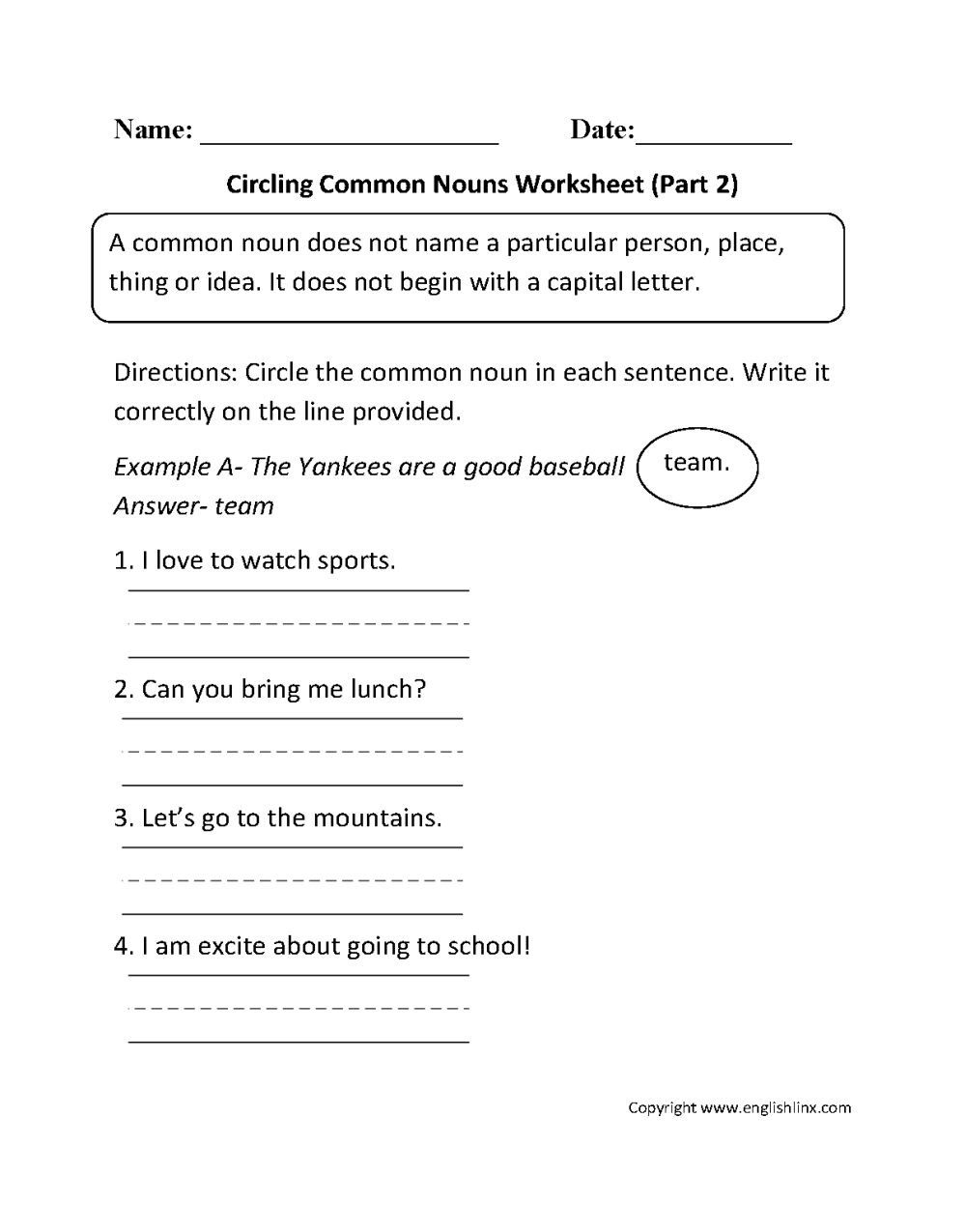 medium resolution of Nouns Worksheets   Proper and Common Nouns Worksheets