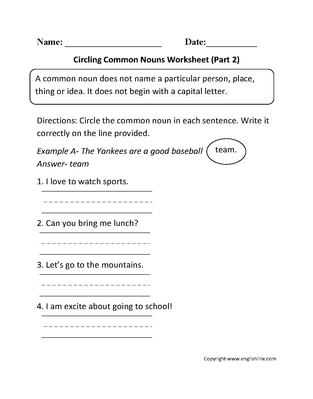 hight resolution of Nouns Worksheets   Proper and Common Nouns Worksheets