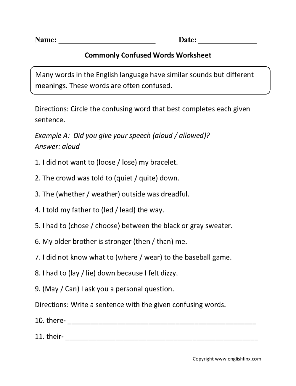 medium resolution of Word Usage Worksheets   Commonly Confused Words Worksheets
