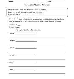 Parts Speech Worksheets   Adjective Worksheets [ 2200 x 1700 Pixel ]