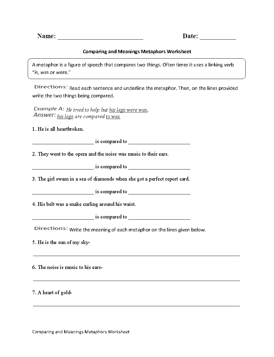 hight resolution of Englishlinx.com   Metaphors Worksheets