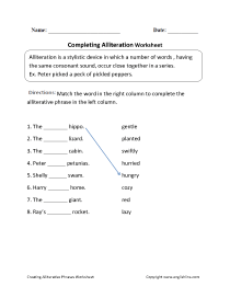 small resolution of Englishlinx.com   Alliteration Worksheets
