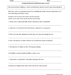 Sentences Worksheets   Compound Sentences Worksheets [ 1166 x 884 Pixel ]