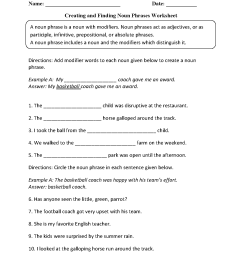 Nouns Worksheets   Noun Phrases Worksheets [ 1662 x 1275 Pixel ]