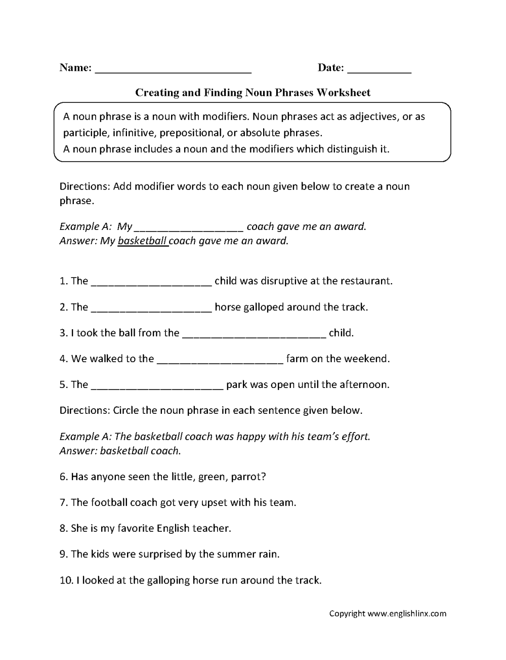medium resolution of Nouns Worksheets   Noun Phrases Worksheets