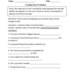 Figurative Language Worksheets   Irony Worksheets [ 1662 x 1275 Pixel ]