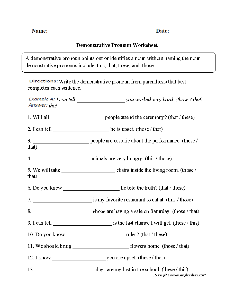 medium resolution of Parts Speech Worksheets   Pronoun Worksheets