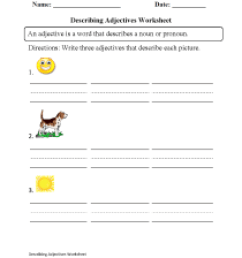 Adjectives Worksheets   Regular Adjectives Worksheets [ 1331 x 1003 Pixel ]