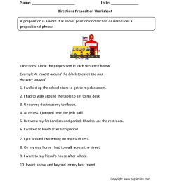 Parts Speech Worksheets   Preposition Worksheets [ 1662 x 1275 Pixel ]