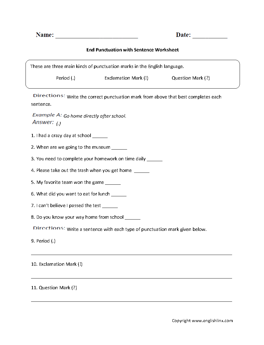 hight resolution of Punctuation Worksheets   Ending Punctuation Worksheets