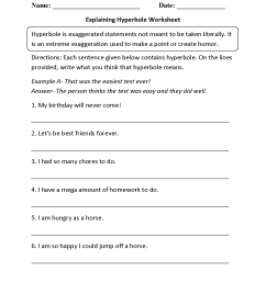 Figurative Language Worksheets   Hyperbole Worksheets [ 1650 x 1275 Pixel ]