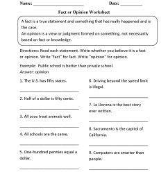 Reading Worksheets   Fact and Opinion Worksheets [ 2200 x 1700 Pixel ]