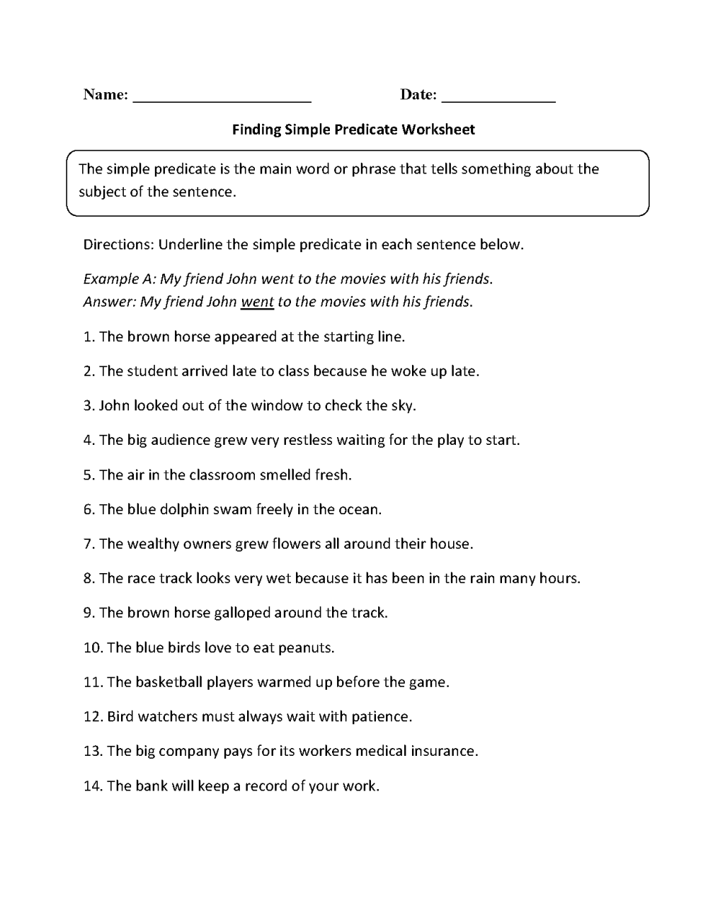 medium resolution of Parts of a Sentence Worksheets   Subject and Predicate Worksheets