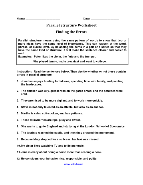 small resolution of Englishlinx.com   Parallel Structure Worksheets