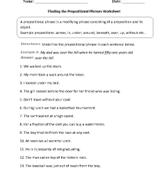 Parts of a Sentence Worksheets   Prepositional Phrase Worksheets [ 1199 x 910 Pixel ]