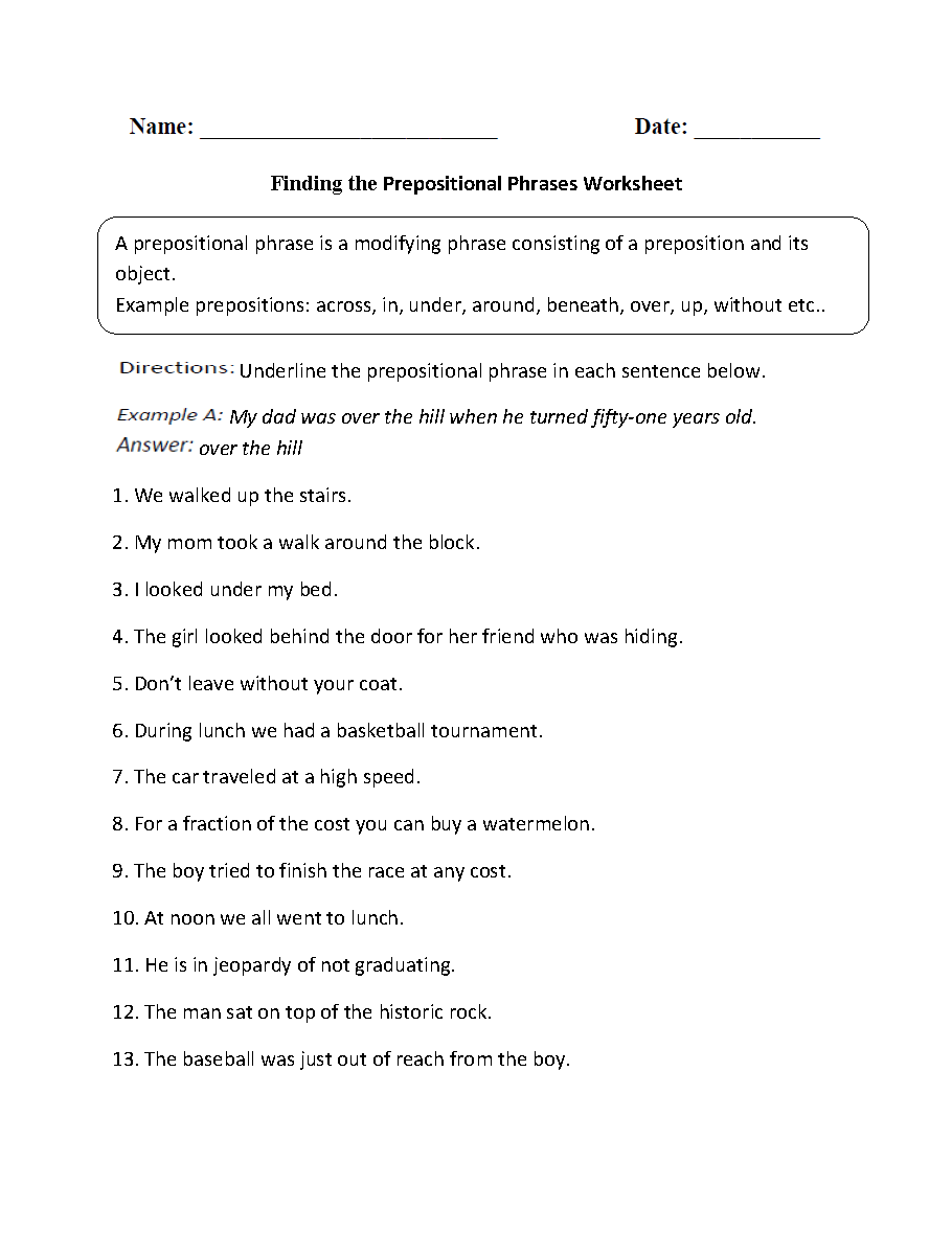 hight resolution of Parts of a Sentence Worksheets   Prepositional Phrase Worksheets