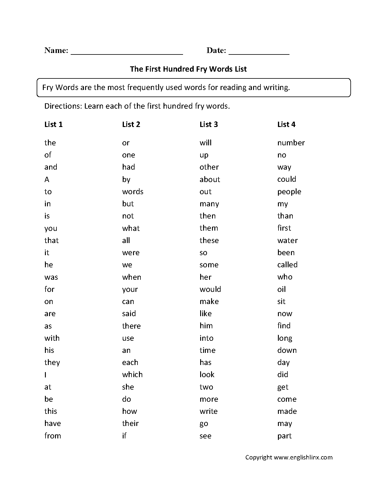hight resolution of Vocabulary Worksheets   Fry Words Worksheets
