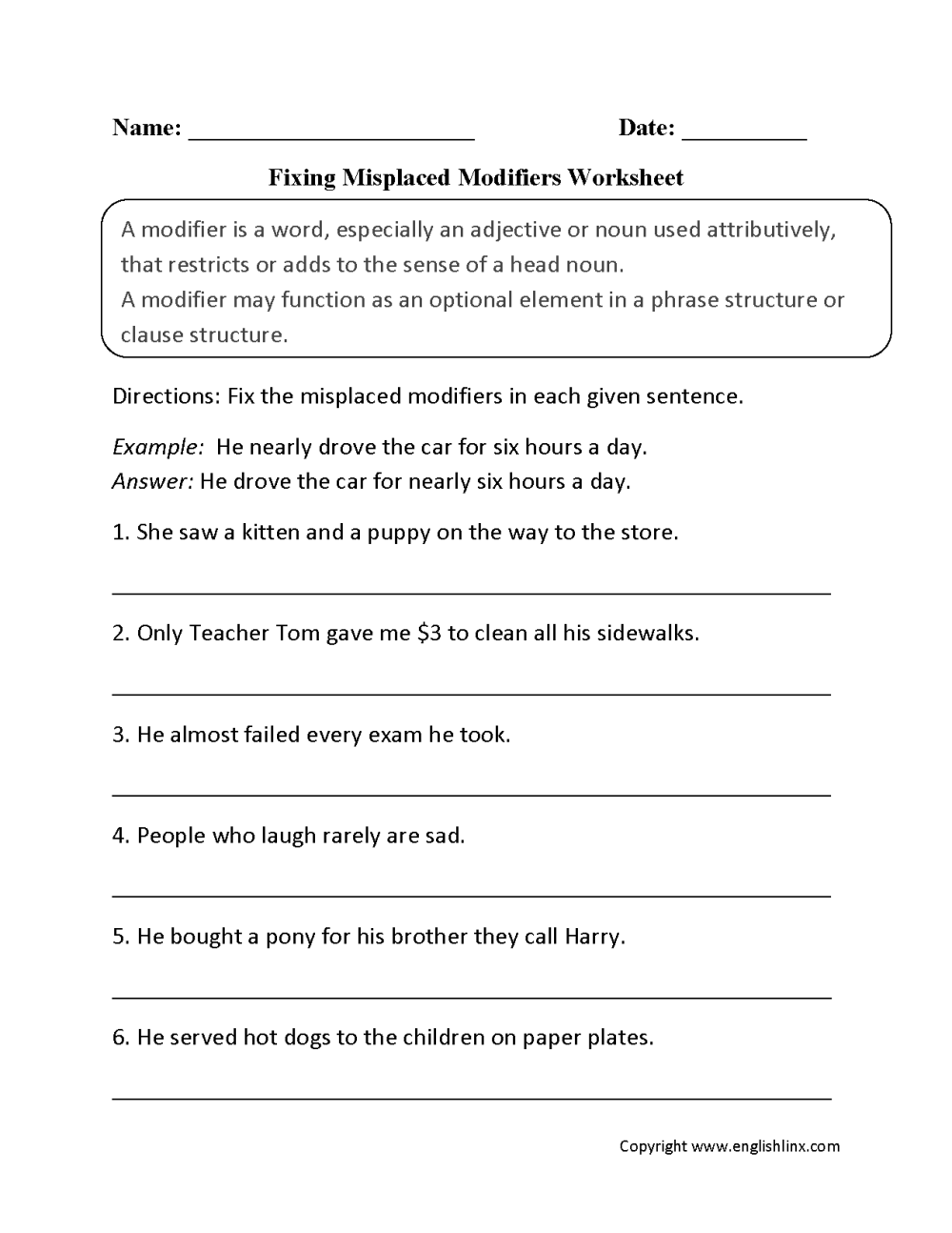 medium resolution of Word Usage Worksheets   Using Modifiers Worksheets