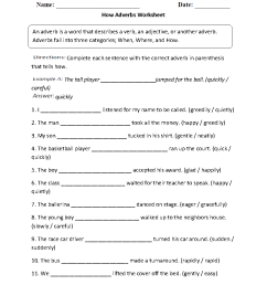 Parts Speech Worksheets   Adverb Worksheets [ 1177 x 910 Pixel ]