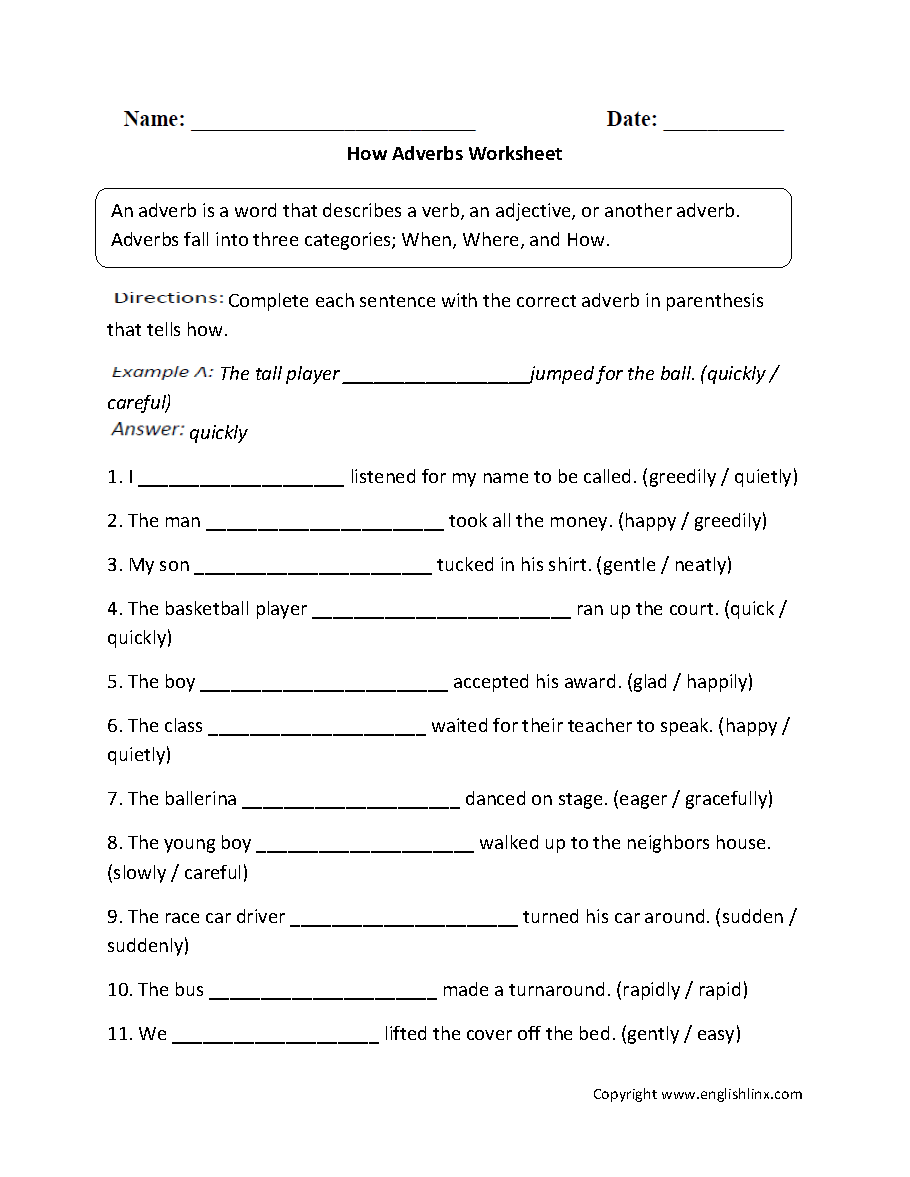 hight resolution of Parts Speech Worksheets   Adverb Worksheets