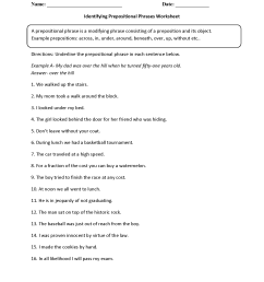 Parts of a Sentence Worksheets   Prepositional Phrase Worksheets [ 2200 x 1700 Pixel ]