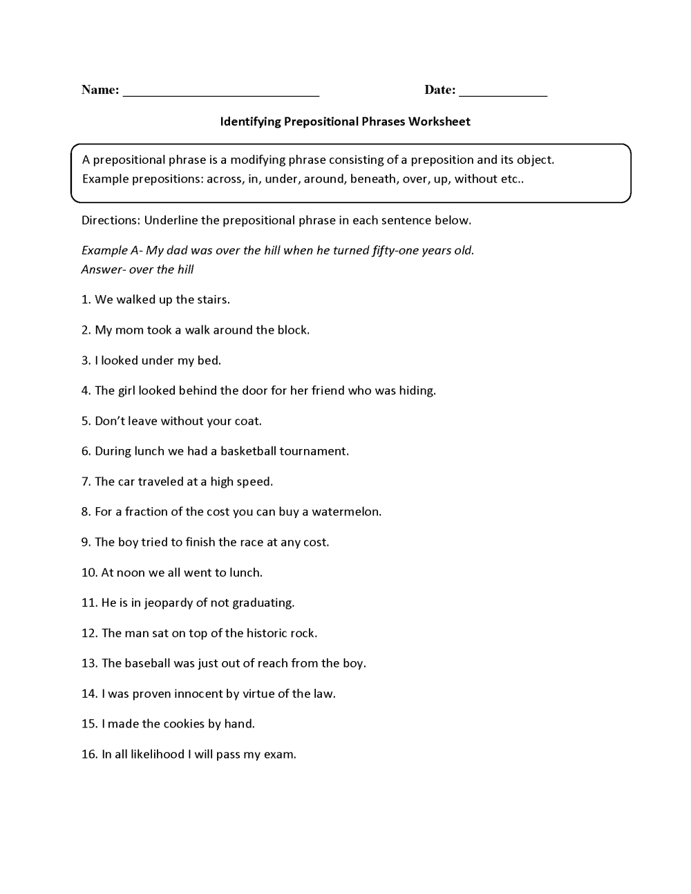 medium resolution of Parts of a Sentence Worksheets   Prepositional Phrase Worksheets