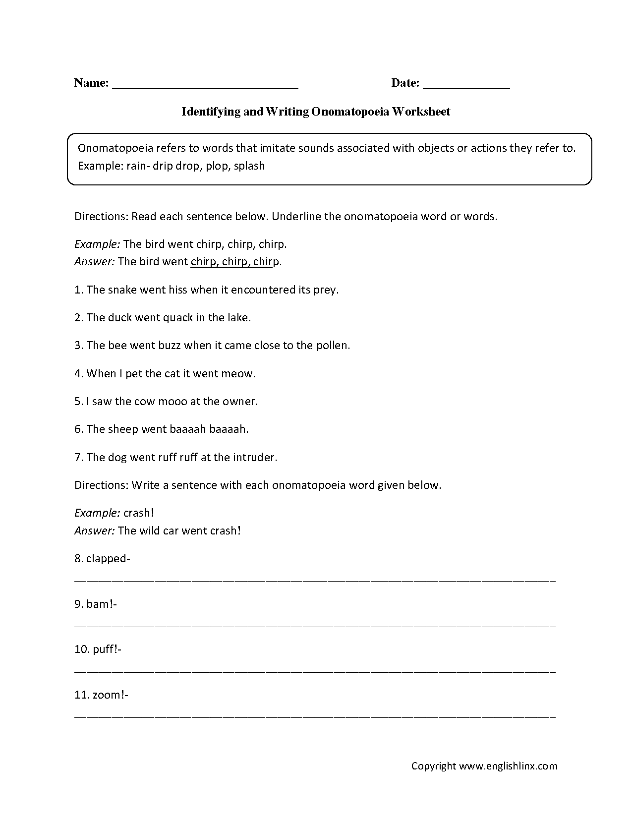 hight resolution of Englishlinx.com   Onomatopoeia Worksheets