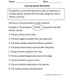 Parts Speech Worksheets   Adverb Worksheets [ 2200 x 1700 Pixel ]