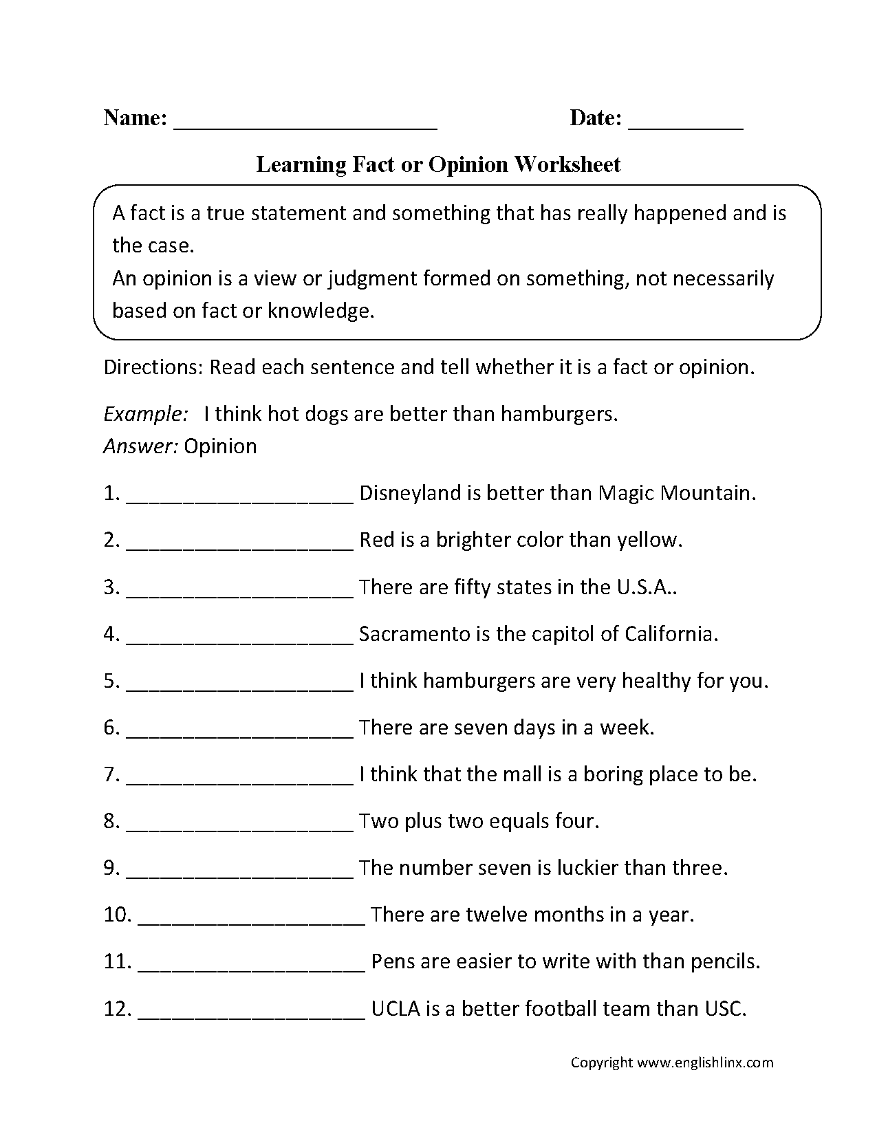 hight resolution of Reading Worksheets   Fact and Opinion Worksheets