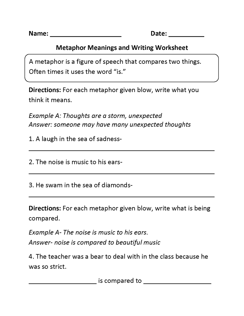 medium resolution of Englishlinx.com   Metaphors Worksheets