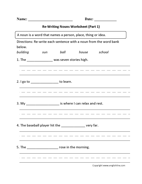 small resolution of Nouns Worksheets   Regular Nouns Worksheets