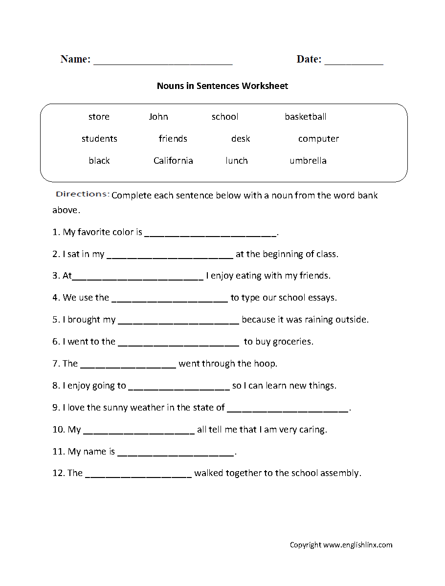 medium resolution of Parts Speech Worksheets   Noun Worksheets
