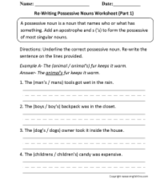 Nouns Worksheets   Possessive Nouns Worksheets [ 2200 x 1700 Pixel ]