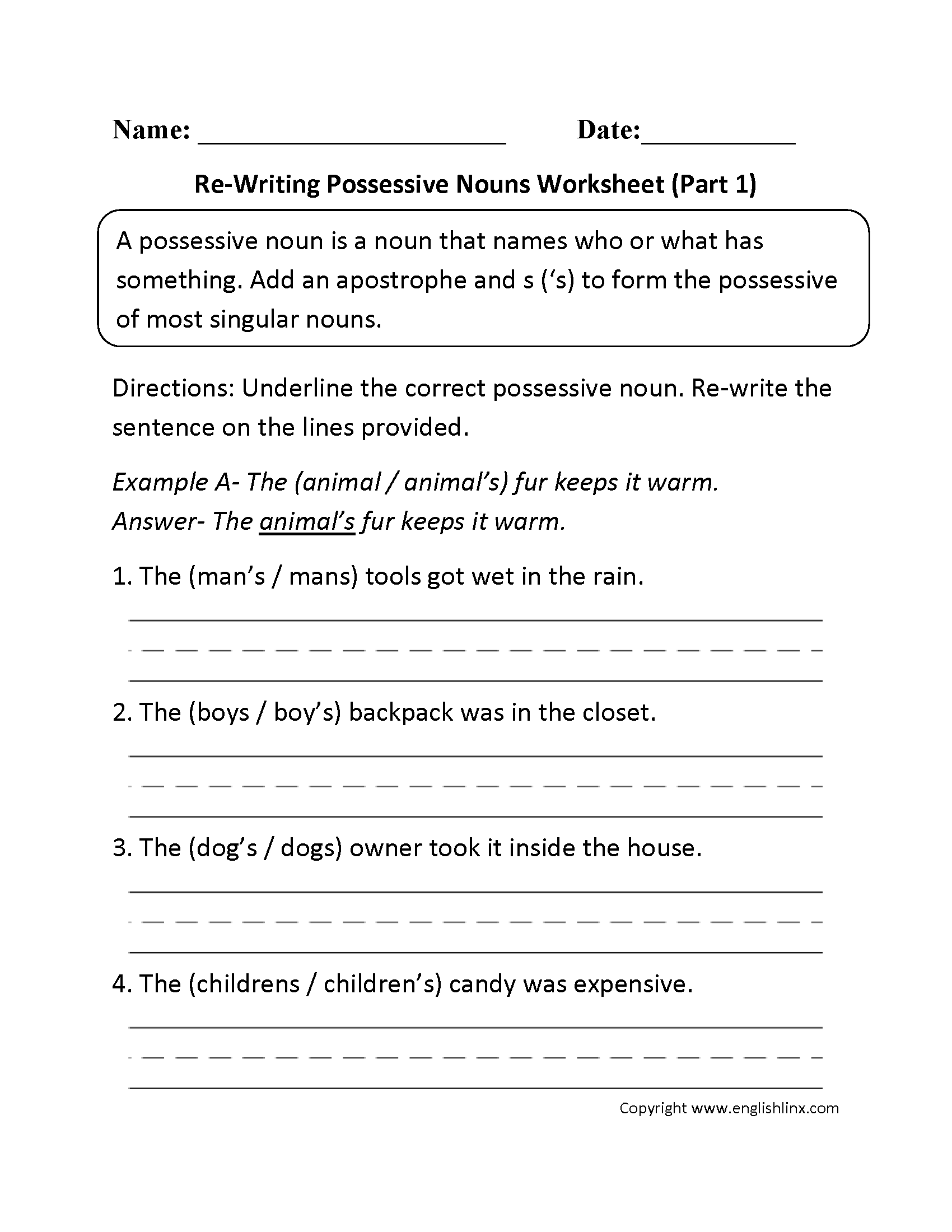 hight resolution of Nouns Worksheets   Possessive Nouns Worksheets