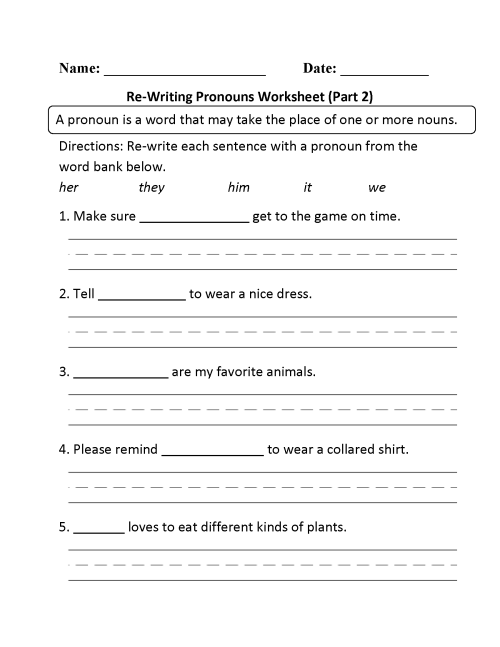 small resolution of Pronouns Worksheets   Regular Pronouns Worksheets
